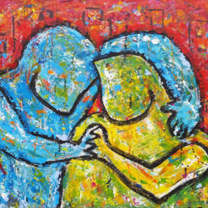 couple hugging painting