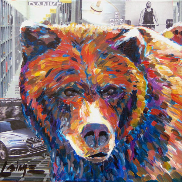 bear mixed media
