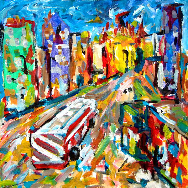 firetruck expressionist painting