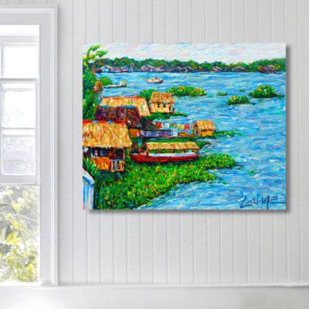floating houses amazon painting01