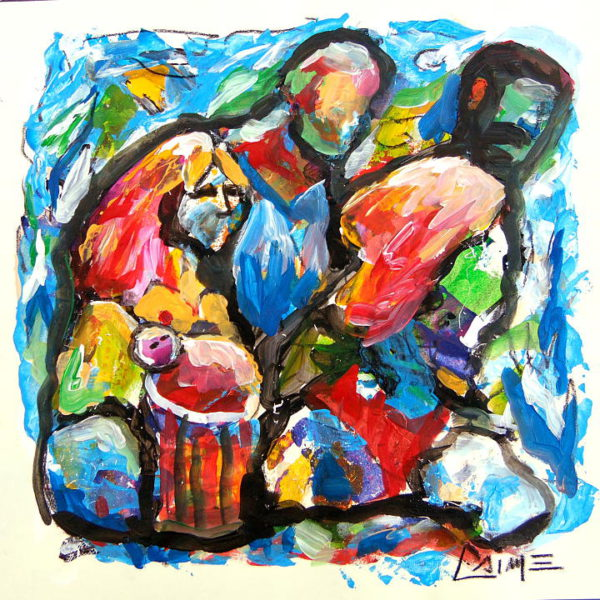 Refugees expressionist acrylic painting on paper
