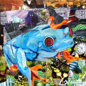 frog collage painting