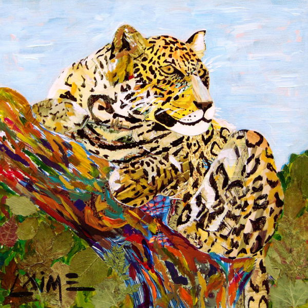 jaguar collage painting