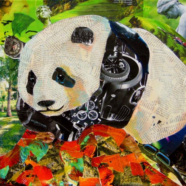 Panda collage original mixed media painting