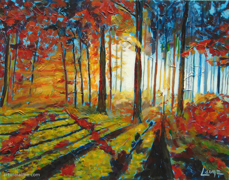 Colorful forest painting Original acrylic