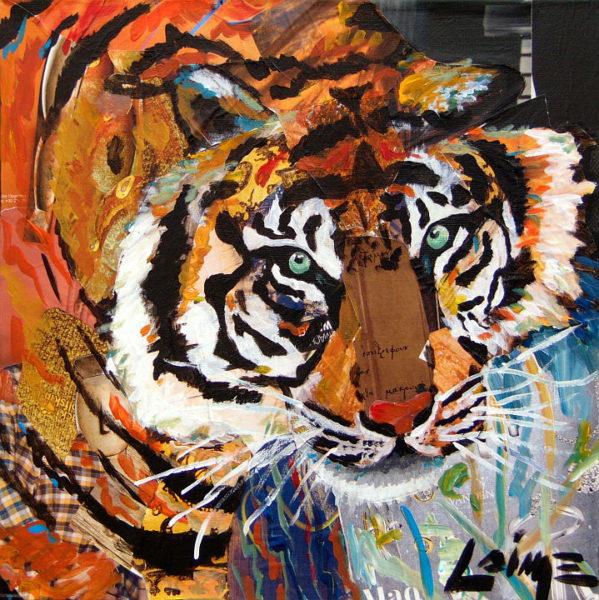 Tiger mixed media painting