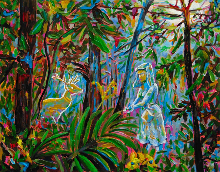 encounter in the forest original painting