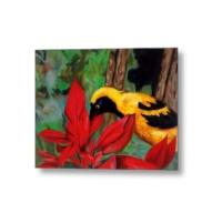 bird and flower metal print