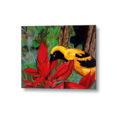 bird and flower metal print