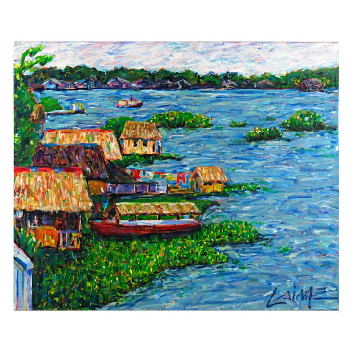 Floating houses on Amazon River mixed media