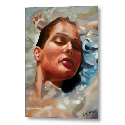 woman in water metal print