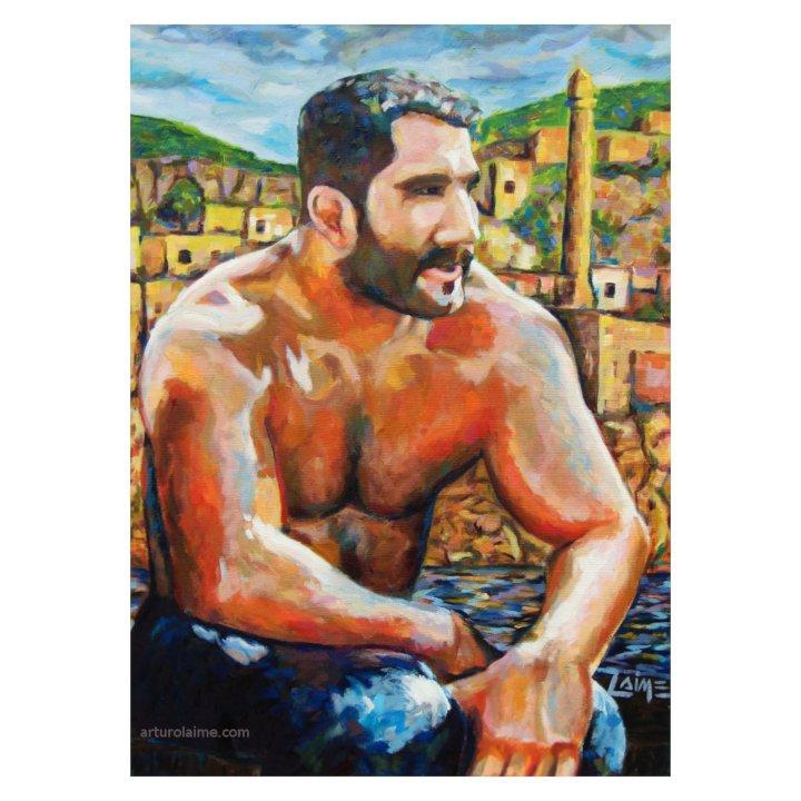 wrestler in hasankeyf painting cover