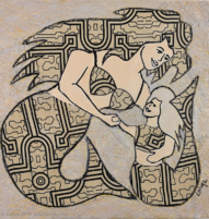 mermaid and daughter mixed media painting