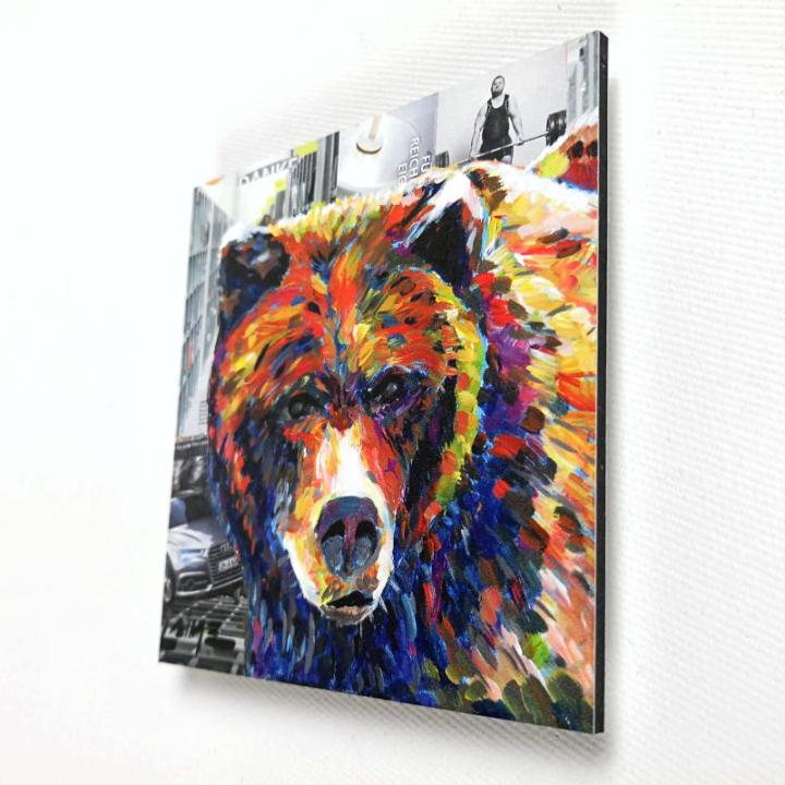 Mini grizzly bear art print 10x10 cm