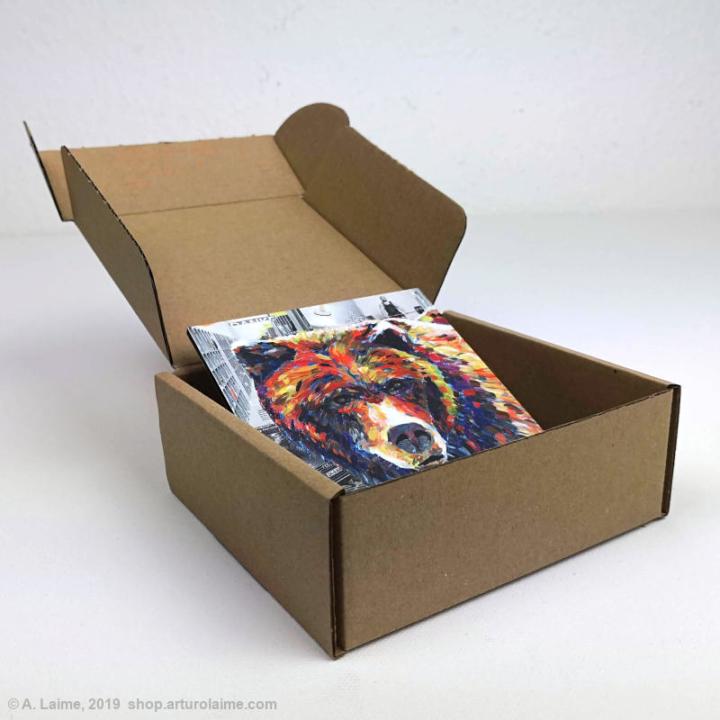 Mini grizzly bear gift box inside
