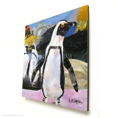 mini african penguins artprint 10x10cm