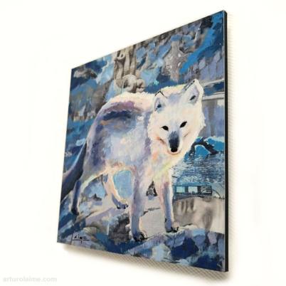 mini arctic fox artprint 10x10cm