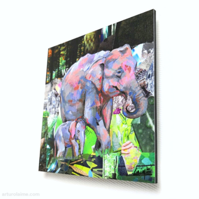 mini sumatran elephants artprint 10x10cm