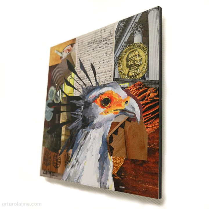 secretary bird mini print 10x10cm