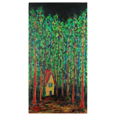 cabin in the black forest original acylic painting product