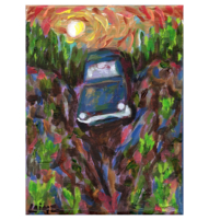 car falling original acylic painting product