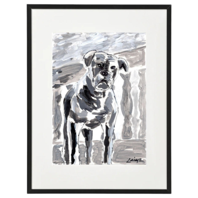 Boxer dog on terrace painting