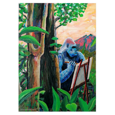 painter gorilla oil painting