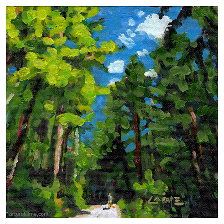 Hiker in the woods oil painting on panel