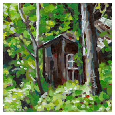 Secret hut oil painting on panel