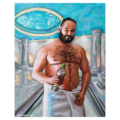 Man in Hammam oil painting on canvas by Arturo Laime