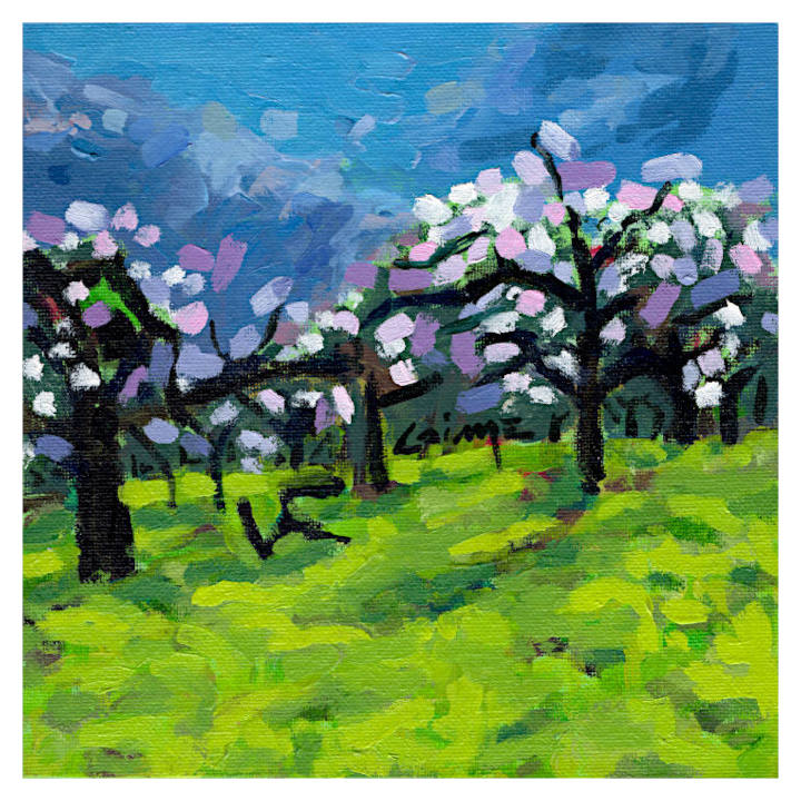 Apple trees blossoming artwork