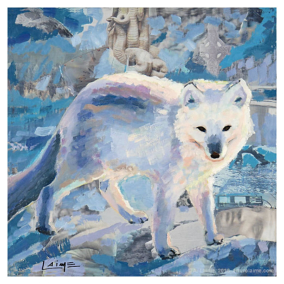Arctic fox mixed media artwork