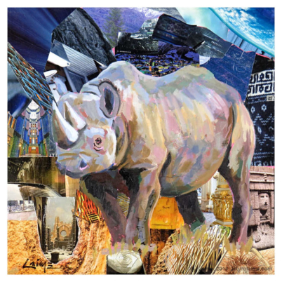 Black rhino mixed media artwork