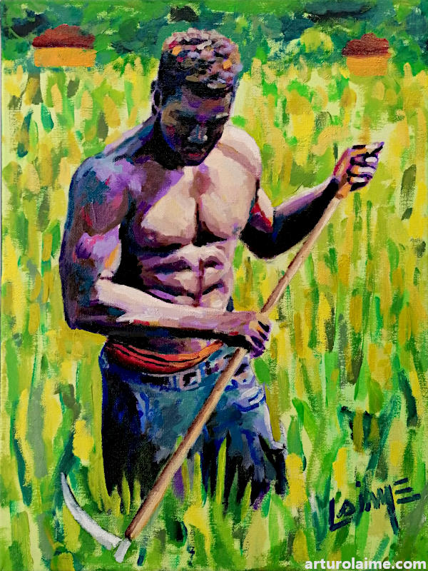 Farmer oil painting on canvas by Arturo Laime 800px