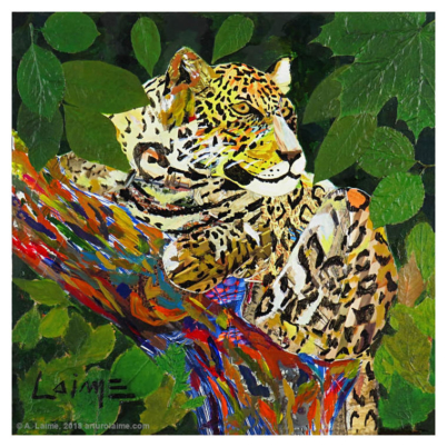 Jaguar mixed media artwork