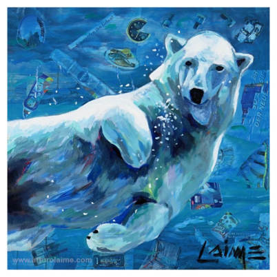 Polar bear mixed media artwork