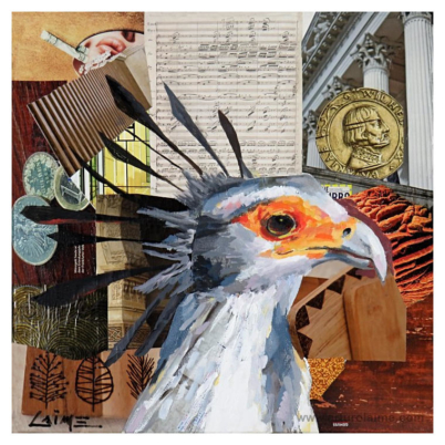 Secretary bird mixed media artwork