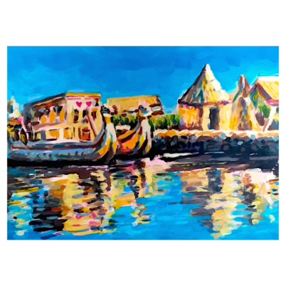 Uros islands acrylic artwork on paper