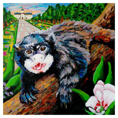 Black mantled tamarin artwork